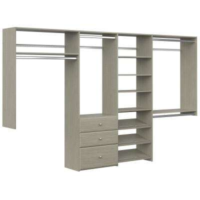 Dual Tower 96 in. W - 120 in. W Rustic Grey Wood Closet System