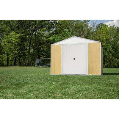 10 ft. x 8 ft. Ironwood Steel Hybrid Shed Kit Galvanized in Cream
