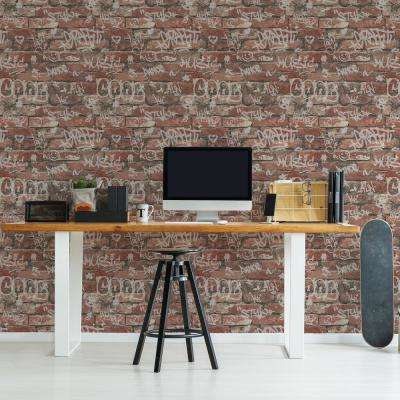 56.4 sq. ft. Rodney Red Tagged Brick Wallpaper