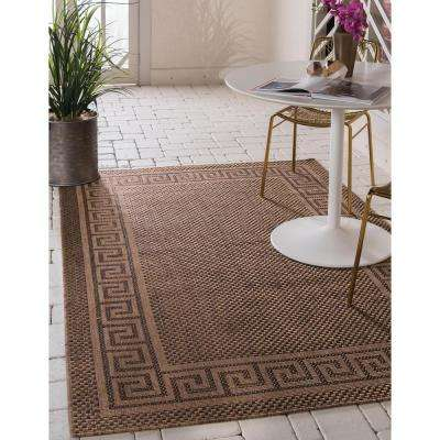 Outdoor Greek Key Brown 8' 0 x 11' 4 Area Rug