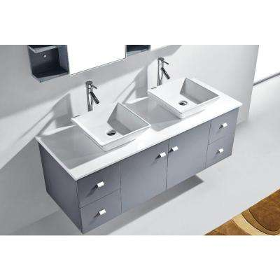 Clarissa 60 in. W Bath Vanity in Gray with Stone Vanity Top in White with Square Basin and Mirror and Faucet