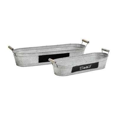Chalk Handled Buckets Silver and Black Set of 2-DISCONTINUED