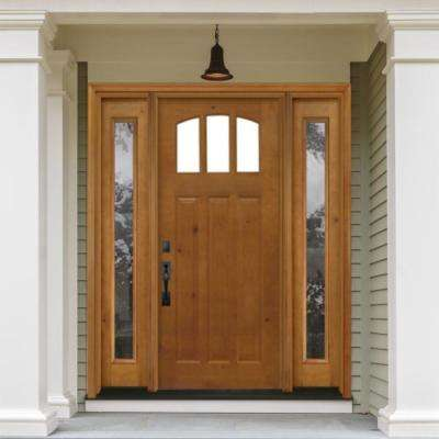 68 in. x 80 in. Craftsman 3 Lite Arch Stained Knotty Alder Wood Prehung Front Door with Sidelites