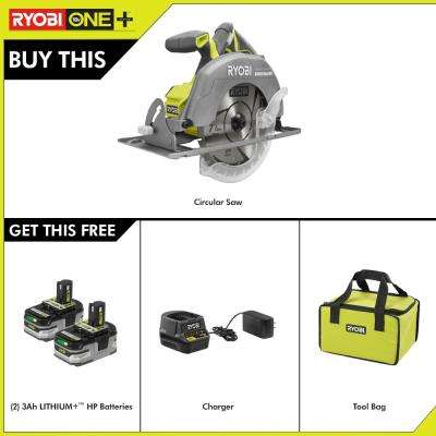 18-Volt  ONE+ 7-1/4 in. Circular Saw with ONE+ LITHIUM+ HP 3.0 Ah Battery (2-Pack) Starter Kit with Charger and Bag