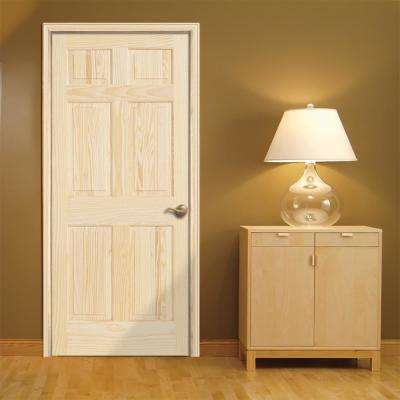 30 in. x 80 in. Pine Unfinished 6-Panel Solid Wood Interior Door Slab