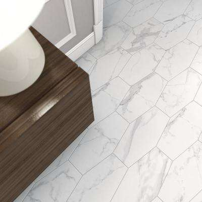 Statuary Path White 9.5 in. x 19.5 in. Matte Porcelain Hexagon Floor and Wall Tile (12.15 sq. ft. / case)