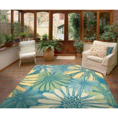 Home and Garden Daisies Blue 10 ft. x 13 ft. Indoor/Outdoor Area Rug