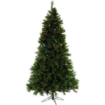 6.5 ft. Pre-lit LED Canyon Pine Artificial Christmas Tree with 400 Multi-Color String Lights