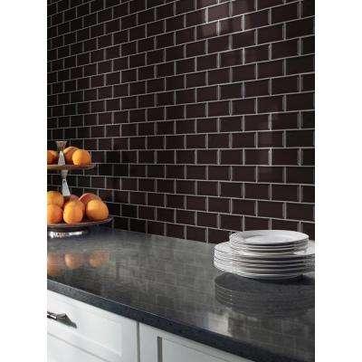 Midnight Black Bevel 11.22 in. x 11.47 in. x 6mm Glazed Ceramic Mesh-Mounted Mosaic Tile (13.35 sq. ft./case)