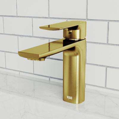 Davidson Single Hole Single-Handle Bathroom Faucet in Matte Gold