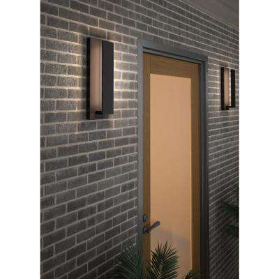 Nate 1-Light Bronze Outdoor 17 in. Integrated LED Wall Mount Sconce