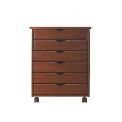 Stanton Wide 6-Drawer Storage Cart in Walnut