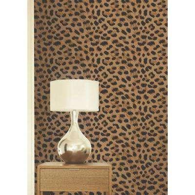 56.4 sq. ft. Furs Orange Leopard Wallpaper