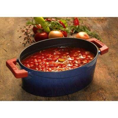 Signature 5 Qt. Enameled Cast Iron Oval Dutch Oven in Cobalt Blue