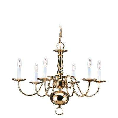 Traditional 6-Light Polished Brass Colonial Style Chandelier