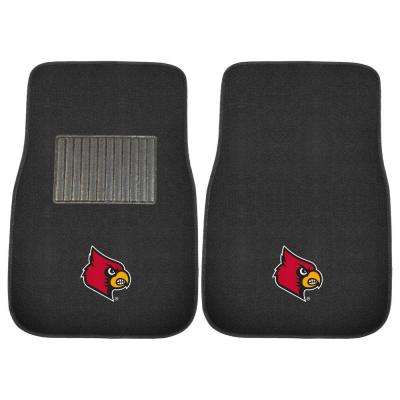 NCAA University of Louisville 2-Piece 17 in. x 25.5 in. Carpet Embroidered Car Mat