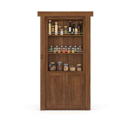 36 in. x 80 in. Flush Mount Assembled Forward Pantry Door Cherry Medium Stained Left-Hand Inswing