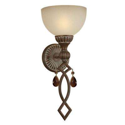 1-Light Black Cherry Sconce with Shaded Umber Glass