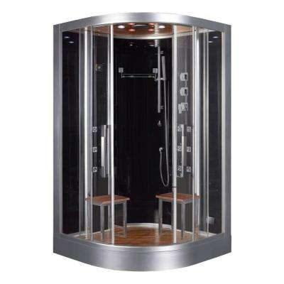 47.2 in. x 47.2 in. x 89 in. Steam Shower Enclosure Kit in Black