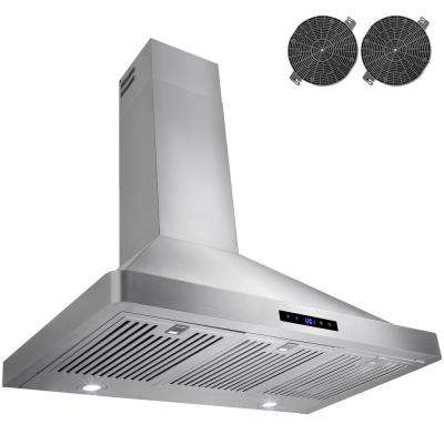36 in. Convertible Kitchen Wall Mount Range Hood in Stainless Steel with LEDs Touch Control and Carbon Filters
