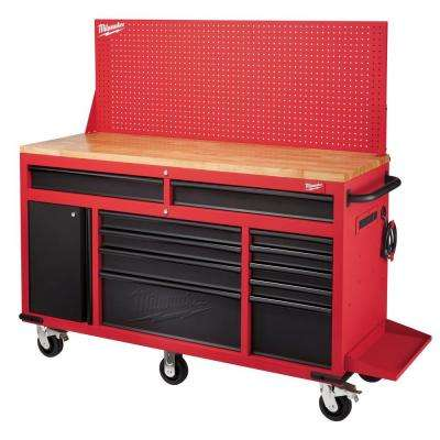 60 in. 11-Drawer and 1-Door 22 in. D Mobile Workbench with Adjustable-Height, Sliding Pegboard Back Wall, Red and Black