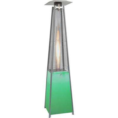 7 ft. 42,000 BTU Stainless-Steel Frame and Multi-Color LED Lighted Base Square Propane Gas Patio Heater