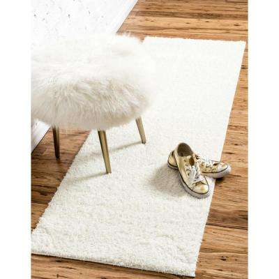 Studio Solid Shag White 2' 7 x 10' 0 Runner Rug