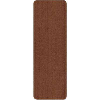 Solid Design Beige 2 ft. 2 in. x 8 ft. Non-Slip Bathroom Rug Runner