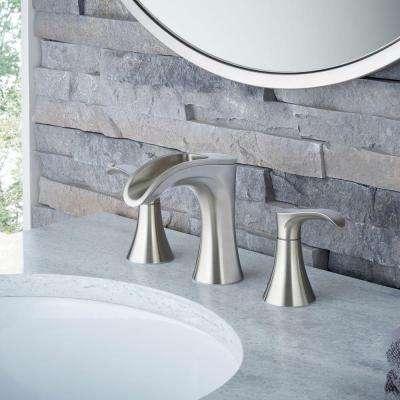 Brea 8 in. Widespread 2-Handle Waterfall Bathroom Faucet in Brushed Nickel