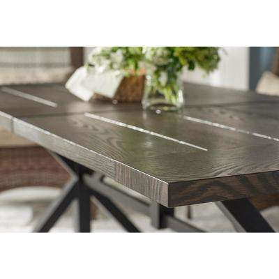 74 in. x 40 in. Beacon Park Slat Brown Steel Outdoor Patio Rectangular Farmhouse Patio Dining Table