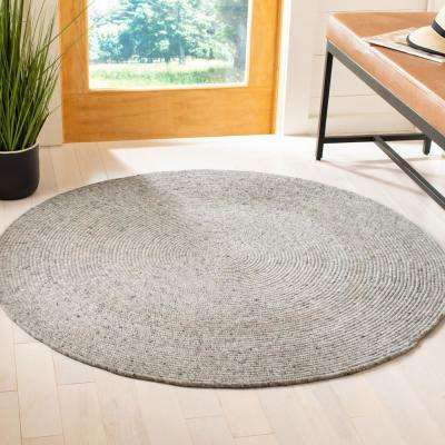 Braided Light Gray 4 ft. x 4 ft. Round Area Rug