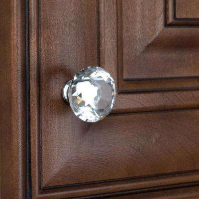 1-1/8 in. Dia Clear K9 Crystal Diamond Shape Cabinet Knob (10-Pack)
