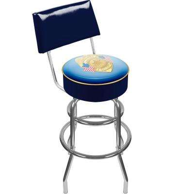Police Officer 30 in. Chrome Swivel Cushioned Bar Stool