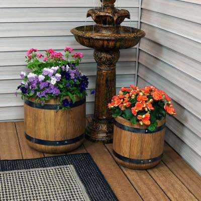 Vineyard 12 in. and 15 in. Fiber Clay Classic Barrel Durable Indoor/Outdoor Planter Flower Pot Set (2-Piece)