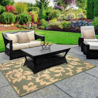 Bennet Ash Green 4 ft. x 2 ft. Indoor/Outdoor Area Rug