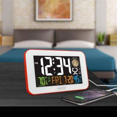5.5 in. W x 3.3 in. H LED Color Alarm Table Clock with USB Charging Port in Red