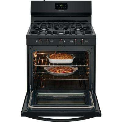 30 in. 5.0 cu. ft. 5-Burner Gas Range with Manual Clean in Black