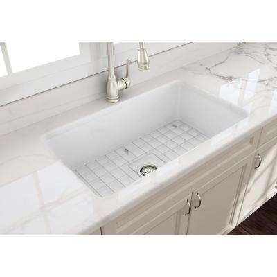 Sotto Undermount Fireclay 32 in. Single Bowl Kitchen Sink with Bottom Grid and Strainer in White