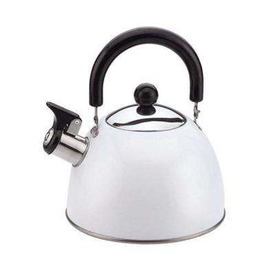 Stainless Steel Whistling Tea Kettle in White Exterior 2.0 Qt.