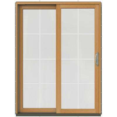 59-1/4 in. x 79-1/2 in. W-2500 Arctic Silver Prehung Left-Hand Clad-Wood Sliding Patio Door with 8-Lite Grids