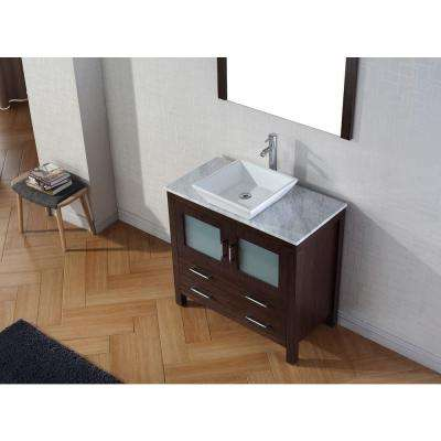 Dior 37 in. W Bath Vanity in Espresso with Marble Vanity Top in White with Square Basin and Mirror and Faucet