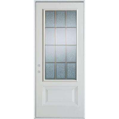 32 in. x 80 in. Geometric Clear and Zinc 3/4 Lite 1-Panel Painted White Right-Hand Inswing Steel Prehung Front Door