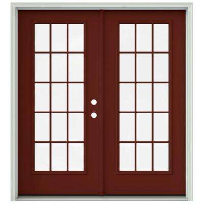 72 in. x 80 in. Mesa Red Prehung Left-Hand Inswing 15 Lite French Patio Door with Brickmould