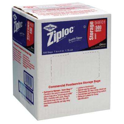 Commercial Foodservice Storage Bags, 1 qt., 1.75 Mil, 7 in. x 8 in., Write-On Panel, 500 Per Case