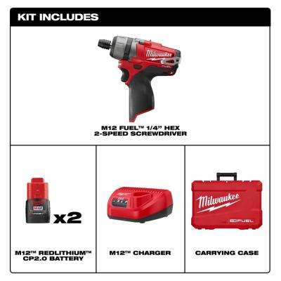 M12 FUEL 12-Volt Lithium-Ion Brushless Cordless 1/4 in. Hex 2-Speed Screwdriver Kit W/(2) 2.0h Batteries & Hard Case