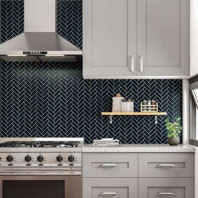 Restore Navy Herringbone 9 in. x 12 in. x 6mm Glazed Ceramic Mosaic Tile (0.60 sq. ft. / Piece)