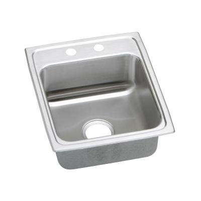 Gourmet Drop-In Stainless Steel 17 in. 2-Hole Single Bowl Kitchen Sink