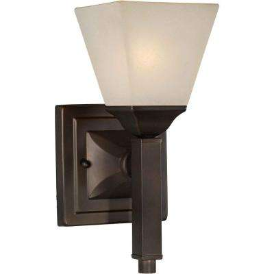1-Light Antique Bronze Sconce with Shaded Umber Glass
