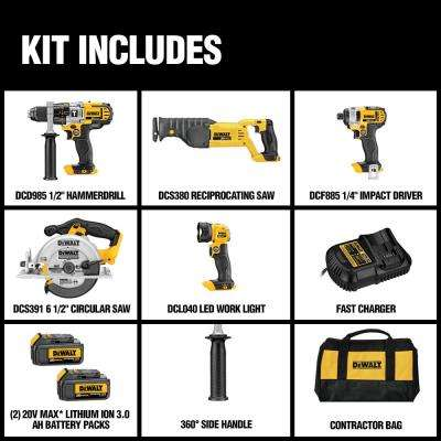 20-Volt MAX Lithium-Ion Cordless Combo Kit (5-Tool) with (2) Batteries 3.0Ah, Charger and Tool Bag