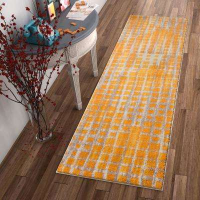 Vettore Fortuna Yellow 2 ft. x 7 ft. Modern Geometric Runner Rug